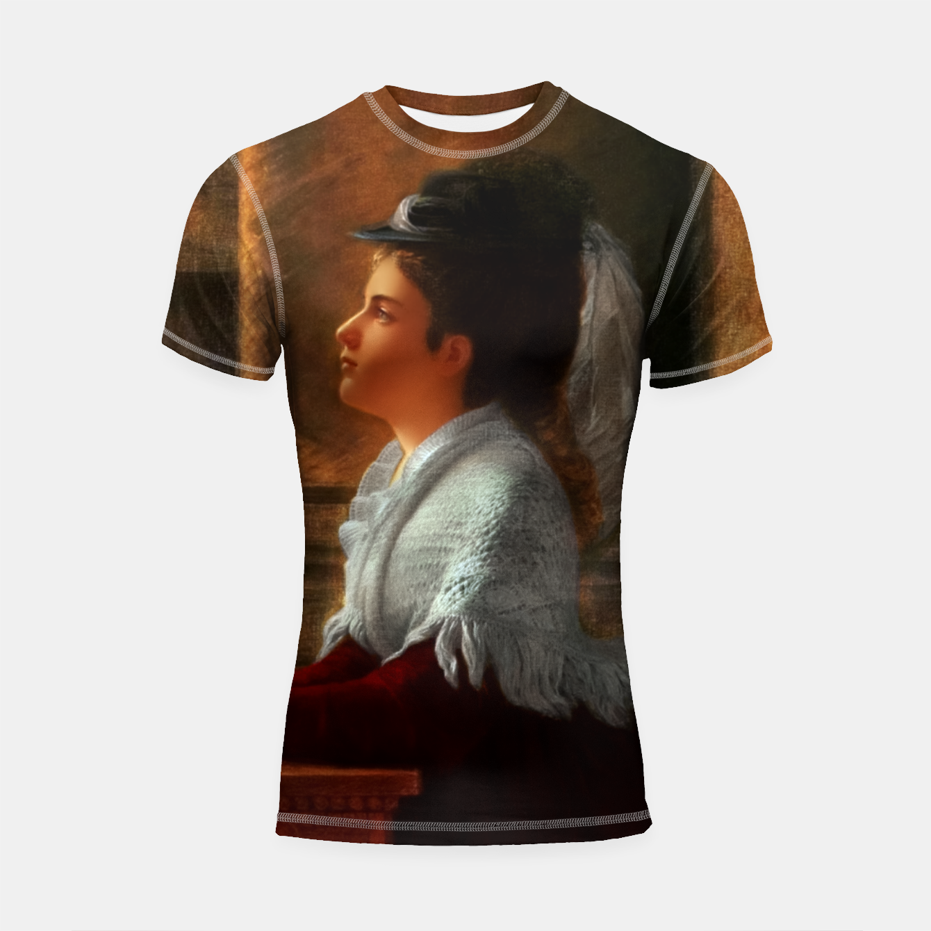 Image of Young Woman Praying In Church by Anton Thiele Shortsleeve rashguard - Live Heroes