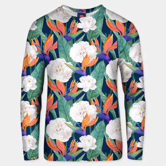 Thumbnail image of Bird of Paradise, Tropical Botanical Nature, Dark Jungle Illustration, Floral Eclectic Bohemian  Unisex sweater, Live Heroes