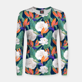 Thumbnail image of Bird of Paradise, Tropical Botanical Nature, Dark Jungle Illustration, Floral Eclectic Bohemian  Women sweater, Live Heroes