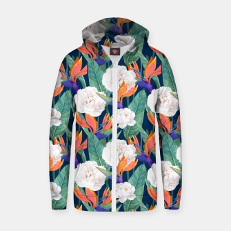 Imagen en miniatura de Bird of Paradise, Tropical Botanical Nature, Dark Jungle Illustration, Floral Eclectic Bohemian  Zip up hoodie, Live Heroes