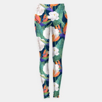 Imagen en miniatura de Bird of Paradise, Tropical Botanical Nature, Dark Jungle Illustration, Floral Eclectic Bohemian  Leggings, Live Heroes