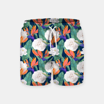 Thumbnail image of Bird of Paradise, Tropical Botanical Nature, Dark Jungle Illustration, Floral Eclectic Bohemian  Swim Shorts, Live Heroes