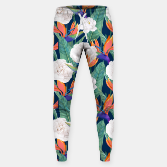 Thumbnail image of Bird of Paradise, Tropical Botanical Nature, Dark Jungle Illustration, Floral Eclectic Bohemian  Sweatpants, Live Heroes