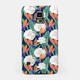 Thumbnail image of Bird of Paradise, Tropical Botanical Nature, Dark Jungle Illustration, Floral Eclectic Bohemian  Samsung Case, Live Heroes