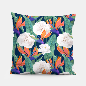 Thumbnail image of Bird of Paradise, Tropical Botanical Nature, Dark Jungle Illustration, Floral Eclectic Bohemian  Pillow, Live Heroes