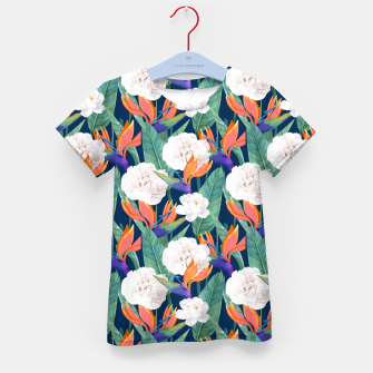 Imagen en miniatura de Bird of Paradise, Tropical Botanical Nature, Dark Jungle Illustration, Floral Eclectic Bohemian  Kid's t-shirt, Live Heroes