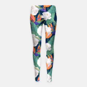 Thumbnail image of Bird of Paradise, Tropical Botanical Nature, Dark Jungle Illustration, Floral Eclectic Bohemian  Girl's leggings, Live Heroes