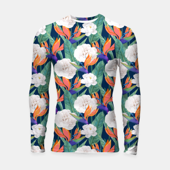 Thumbnail image of Bird of Paradise, Tropical Botanical Nature, Dark Jungle Illustration, Floral Eclectic Bohemian  Longsleeve rashguard , Live Heroes