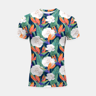 Thumbnail image of Bird of Paradise, Tropical Botanical Nature, Dark Jungle Illustration, Floral Eclectic Bohemian  Shortsleeve rashguard, Live Heroes