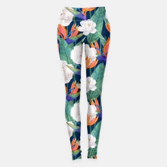 Thumbnail image of Bird of Paradise, Tropical Botanical Nature, Dark Jungle Illustration, Floral Eclectic Bohemian  Leggings, Live Heroes