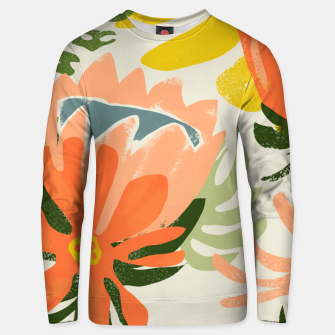 Flowers & Rain, Summer Floral Nature Botanical Painting, Modern Colorful Bohemian Illustration  Unisex sweater miniature