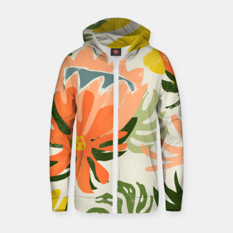 Thumbnail image of Flowers & Rain, Summer Floral Nature Botanical Painting, Modern Colorful Bohemian Illustration  Zip up hoodie, Live Heroes