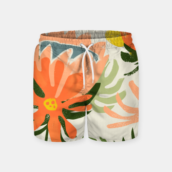 Thumbnail image of Flowers & Rain, Summer Floral Nature Botanical Painting, Modern Colorful Bohemian Illustration  Swim Shorts, Live Heroes