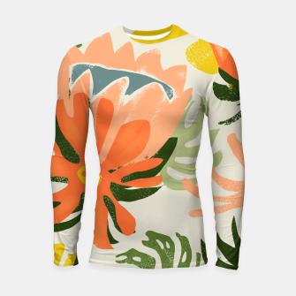 Thumbnail image of Flowers & Rain, Summer Floral Nature Botanical Painting, Modern Colorful Bohemian Illustration  Longsleeve rashguard , Live Heroes