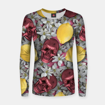 Miniature de image de Pink Skull, lemons and flowers Women sweater, Live Heroes