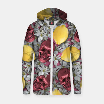Miniature de image de Pink Skull, lemons and flowers Zip up hoodie, Live Heroes