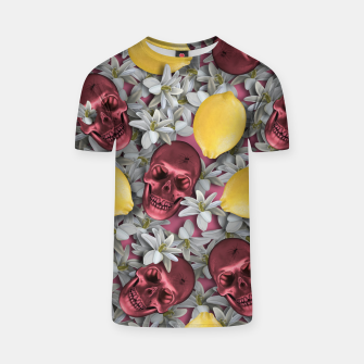 Miniature de image de Pink Skull, lemons and flowers T-shirt, Live Heroes