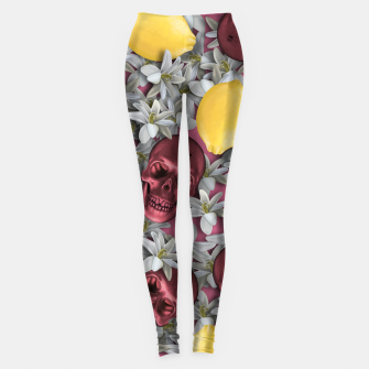 Miniature de image de Pink Skull, lemons and flowers Leggings, Live Heroes