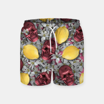 Miniature de image de Pink Skull, lemons and flowers Swim Shorts, Live Heroes