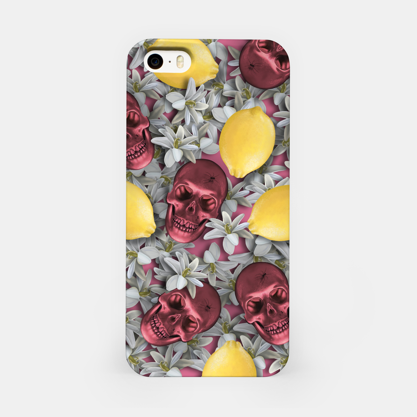 Image of Pink Skull, lemons and flowers iPhone Case - Live Heroes