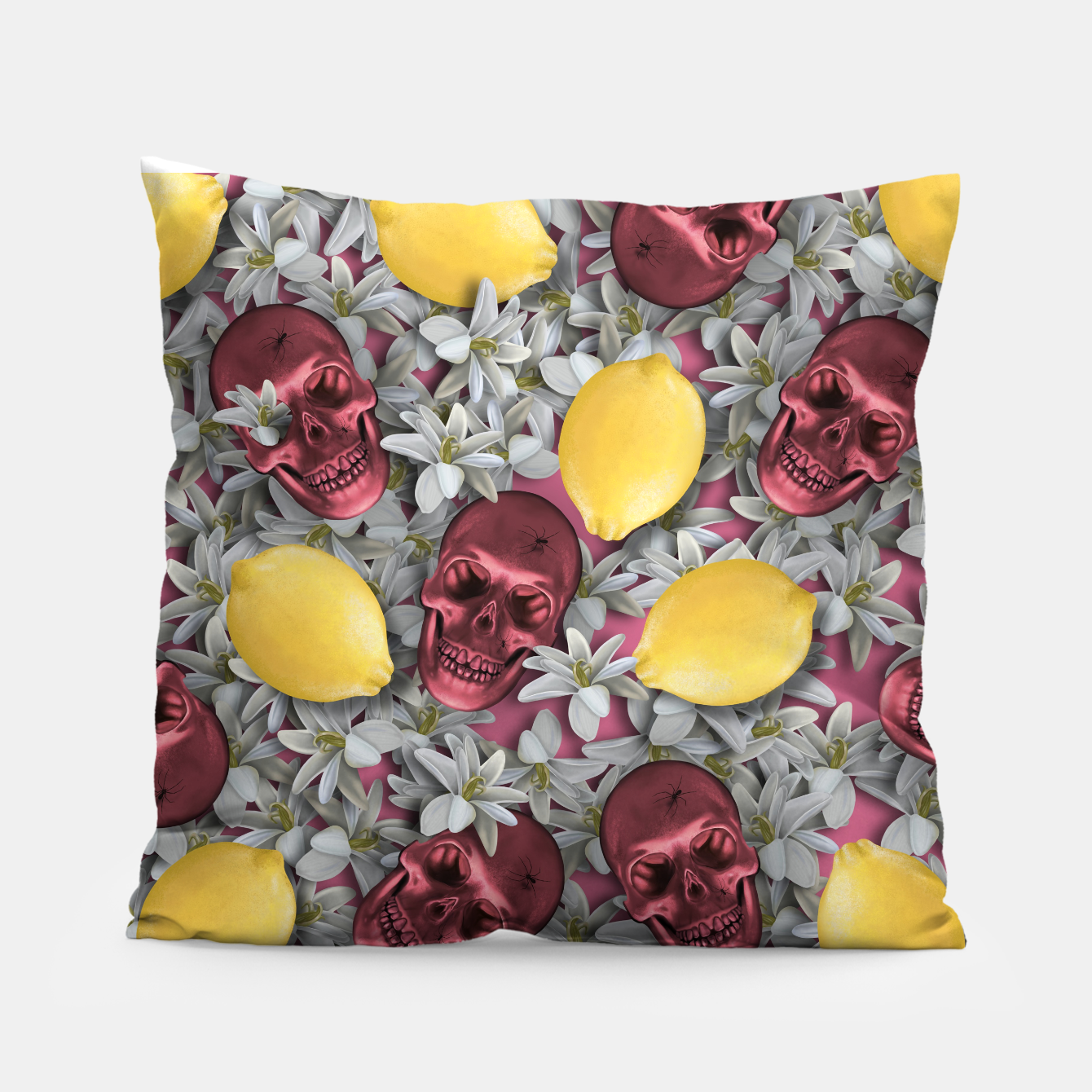 Foto Pink Skull, lemons and flowers Pillow - Live Heroes