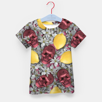 Miniature de image de Pink Skull, lemons and flowers Kid's t-shirt, Live Heroes