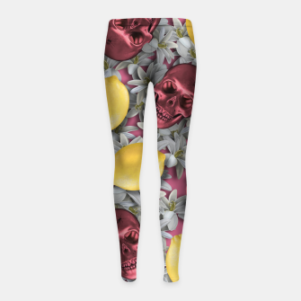 Miniature de image de Pink Skull, lemons and flowers Girl's leggings, Live Heroes