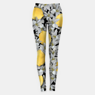 Lemons and Flowers Leggings Bild der Miniatur