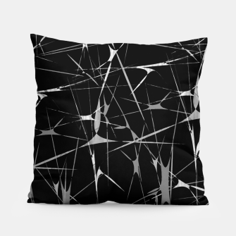 Miniatur Black and White Splatter Abstract Print Pillow, Live Heroes