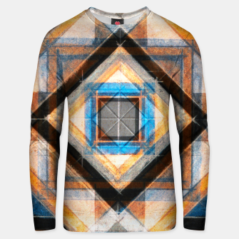 Thumbnail image of Hand Made Edited Pencil Geometry in Blue, Orange and Black Unisex sweater, Live Heroes