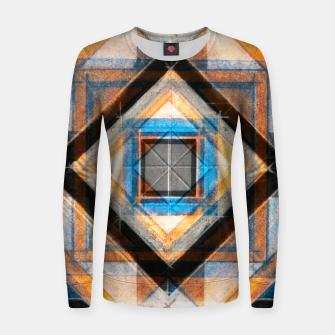 Miniatur Hand Made Edited Pencil Geometry in Blue, Orange and Black Women sweater, Live Heroes
