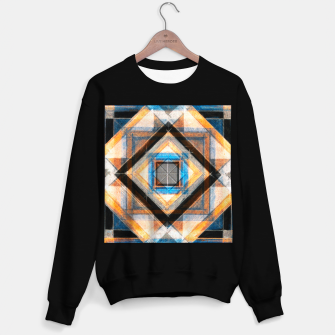 Thumbnail image of Hand Made Edited Pencil Geometry in Blue, Orange and Black Sweater regular, Live Heroes