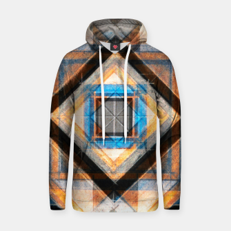 Thumbnail image of Hand Made Edited Pencil Geometry in Blue, Orange and Black Hoodie, Live Heroes