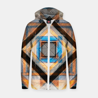Thumbnail image of Hand Made Edited Pencil Geometry in Blue, Orange and Black Zip up hoodie, Live Heroes