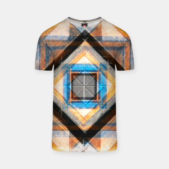 Thumbnail image of Hand Made Edited Pencil Geometry in Blue, Orange and Black T-shirt, Live Heroes