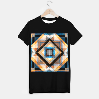 Thumbnail image of Hand Made Edited Pencil Geometry in Blue, Orange and Black T-shirt regular, Live Heroes