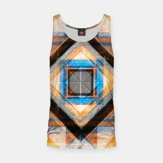 Thumbnail image of Hand Made Edited Pencil Geometry in Blue, Orange and Black Tank Top, Live Heroes