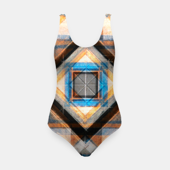 Thumbnail image of Hand Made Edited Pencil Geometry in Blue, Orange and Black Swimsuit, Live Heroes