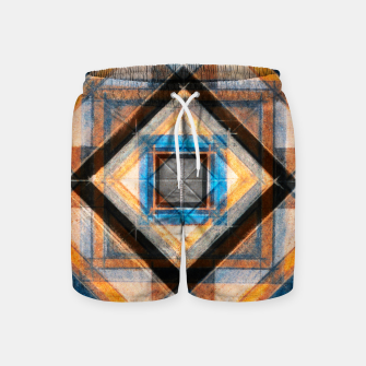 Thumbnail image of Hand Made Edited Pencil Geometry in Blue, Orange and Black Swim Shorts, Live Heroes