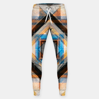 Thumbnail image of Hand Made Edited Pencil Geometry in Blue, Orange and Black Sweatpants, Live Heroes