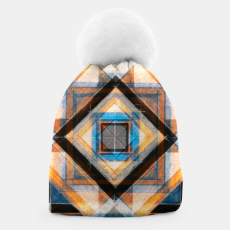 Thumbnail image of Hand Made Edited Pencil Geometry in Blue, Orange and Black Beanie, Live Heroes