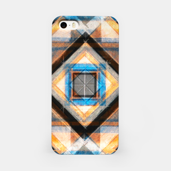 Miniatur Hand Made Edited Pencil Geometry in Blue, Orange and Black iPhone Case, Live Heroes