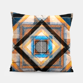 Thumbnail image of Hand Made Edited Pencil Geometry in Blue, Orange and Black Pillow, Live Heroes
