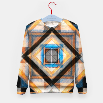 Thumbnail image of Hand Made Edited Pencil Geometry in Blue, Orange and Black Kid's sweater, Live Heroes