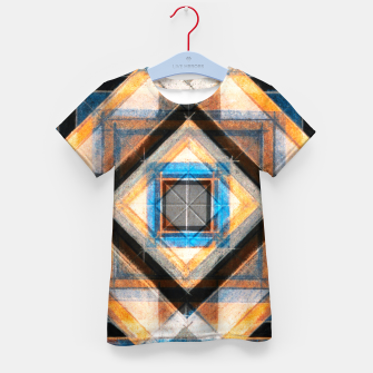 Thumbnail image of Hand Made Edited Pencil Geometry in Blue, Orange and Black Kid's t-shirt, Live Heroes