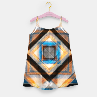 Thumbnail image of Hand Made Edited Pencil Geometry in Blue, Orange and Black Girl's dress, Live Heroes