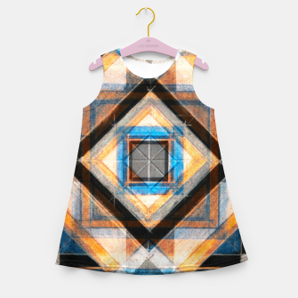 Thumbnail image of Hand Made Edited Pencil Geometry in Blue, Orange and Black Girl's summer dress, Live Heroes
