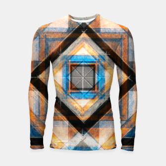 Thumbnail image of Hand Made Edited Pencil Geometry in Blue, Orange and Black Longsleeve rashguard , Live Heroes