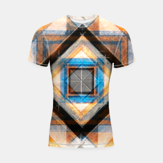Thumbnail image of Hand Made Edited Pencil Geometry in Blue, Orange and Black Shortsleeve rashguard, Live Heroes