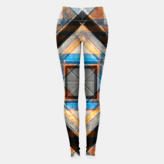 Thumbnail image of Hand Made Edited Pencil Geometry in Blue, Orange and Black Leggings, Live Heroes